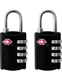 Wingsflying TSA Approved Luggage Locks (2 Pack) - 4 Digit Combination Steel Padlocks - Approved Travel Lock for Suitcases & Baggage & Cabinet - Black