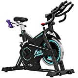 Cheap pooboo Pro Indoor Cycling Bike, Belt Drive Exercise Bike,Stationary Exercise Bicycle LED Display Heart Pulse Trainer Bike with Dumbbells Flywheel Smooth Quiet