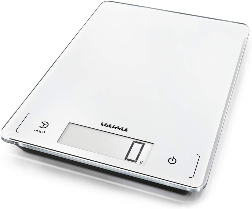 Soehnle Báscula de cocina Page Profi 300, peso digital blanco con función Sensor Touch, balanza electrónica hasta 20 kg (precisión de 1 g)
