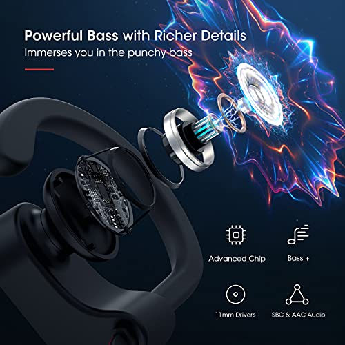 Mpow Flame Bluetooth Headphones V5.0 IPX7 Waterproof Wireless headphones, Bass+ HD Stereo Wireless Sport Earbuds, 7-9Hrs Playtime, cVc6.0 Noise Cancelling Mic for Home Workout, Running, Gym Red