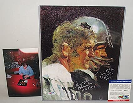 19fdcc1b George Blnanda & Jim Otto Signed 8.5x11 Canvas, Oakland Raiders ...