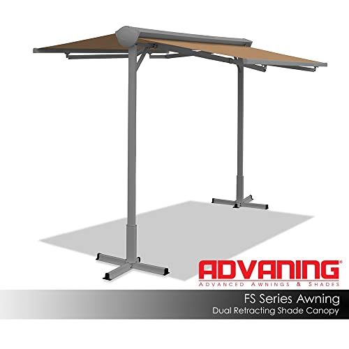 ADVANING FS1110-A208H FS Series Free Standing Dual Side Manual Retractable Awning, 11 x 10 , Canvas Umber