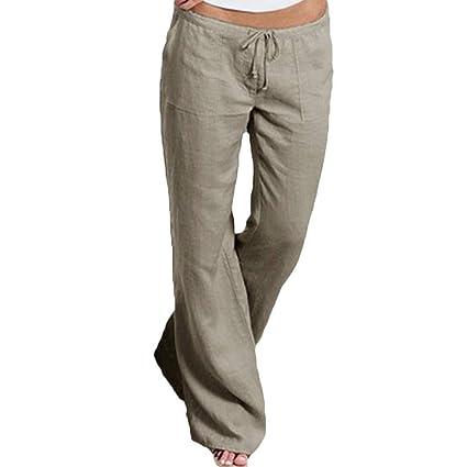 TWBB Damas de Bolsillo Banda elástica Pantalones Casuales cómodos Pantalones Largos Pantalones Anchos Anchos