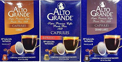 Alto Grande Coffee Variety Pack Capsules for Nespresso Machine (3 Boxes of 18 Capsules) Espresso, Grand Lares, Lungo