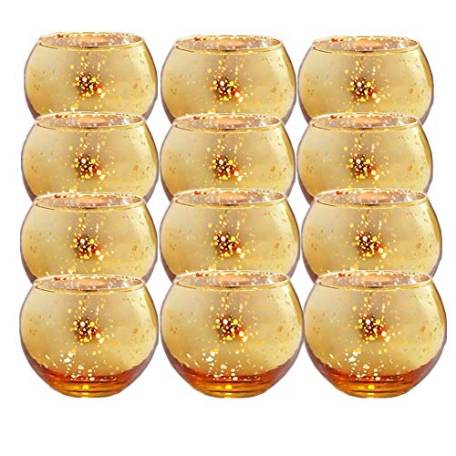 GBATERI 12 Pack Speckled Gold Votive Candle Holders,Round Mercury Glass Tealight Candle Holders 2