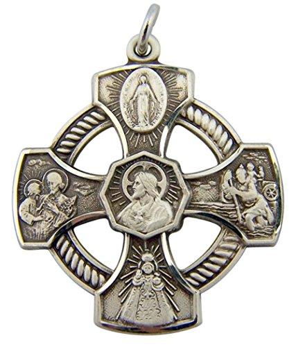 HMHReligiousMfg Sterling Silver Pierced 5-Way Jesus Christ Scapular Medal Pendant, 1 1/8 Inch