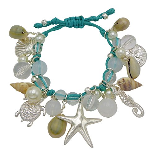 Rosemarie Collections Women's Seashell Sea Life Beach Theme Cord Charm Bracelet (Beach Charm Theme)