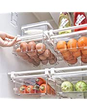 """YekouMax Fridge Drawer Organizer, Refrigerator Organizer Bins, Pull Out with Handle, Fridge Shelf Holder Storage Box, Clear Container for Food, Drinks, Fit for Fridge Shelf Under 0.6"""" (Two Partitions)"""