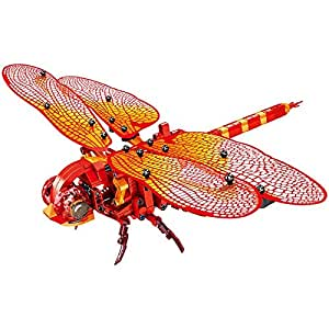 DIY 330Pcs Simulated Insect Red Dragonfly Building Blocks Compatible Legoingly Technic Bricks Educational Toys for Children Gift