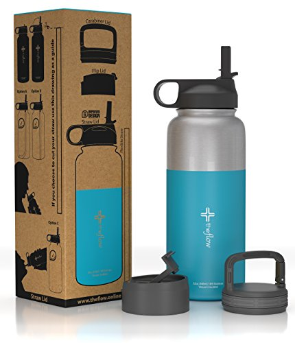 The Flow Stainless Steel Water Bottle, Double Walled/Vacuum Insulated - BPA/Toxin Free – Wide Mouth with Straw Lid (Stainless Pacific blue)