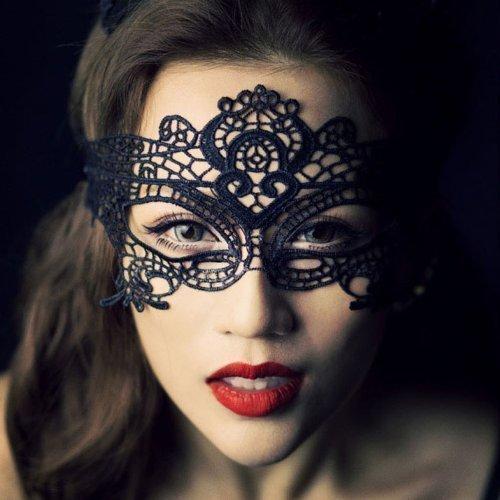 Damen- Spitze sexy venezianischen Maskenspiel Karneval Party Ball Gesicht Augenmaske (Schwarz)