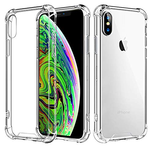 Comsoon iPhone Xs Max Case، [Crystal Clear] [جذب شوک] TPU Corners Protection Bumper + Scratch-Resistant Hybrid Rugged Transparent Thin PC Back for Apple iPhone Xs Max 6.5 اینچ 2018 (پاک کردن)
