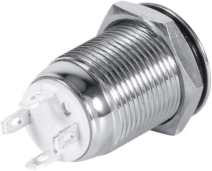 Keenso Waterproof Metal LED12mm 12V 1NO1NC Interruptor de bot/ón de encendido del autom/óvil Interruptor de encendido de bot/ón de enganche de reinicio autom/ático Azul