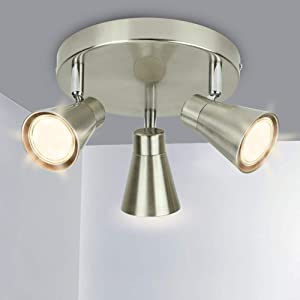 DLLT Round Ceiling Spotlight Fixture,3-Light Flush Mount Track Fixture Wall Lamp Directional for Kitchen, Bedroom, Dining Room, Office, Brushed Nickel, Gu10 Bulbs Included