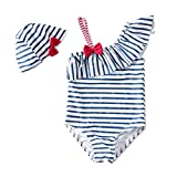 BEFULY 2018 Hot Selling Girls One Piece Swimsuits With Hat Cute Bow Stripe Swimwear Tolder Bathing Suits (4T)