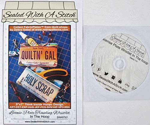 Machine Embroidery License Plate Traveling Wristlet Embroidery CD-ROM, from Sealed With A Stitch Collect FabricPlates