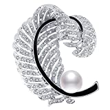 RAINBOW BOX Crystal Pearl & Feather Brooches for Women, Jewelry Feather Scarf Pins Love Cultured with Swarovski Crystal Greatest Brooch Gifts for Her