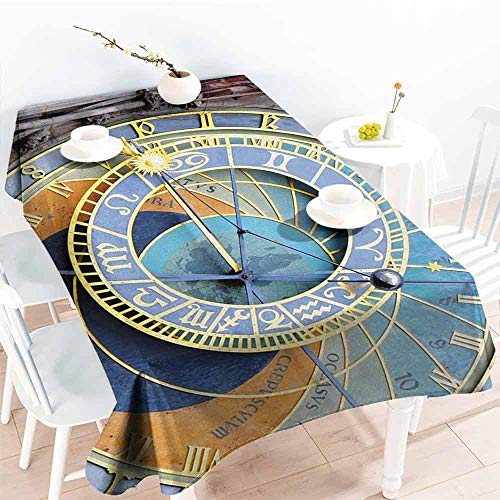 DILITECK Fabric Dust-Proof Table Cover Clock Prague Astronomical Clock in The Old Town an European Medieval Landmark of City Washable Tablecloth W70 xL84 Blue and Yellow