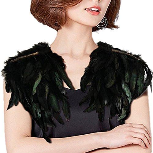 羽根ストール 黒 バンド パーティー おしゃれ 派手 仮装 ステージ 春夏 女性 ショール ブラック