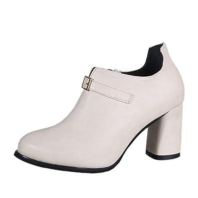 Pwtchenty Botines De Moda para Mujer Zapato Cuero Botas Altas ...