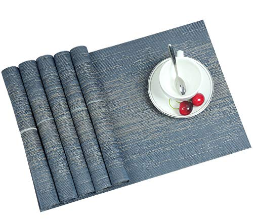 Homcomoda Woven PVC Placemats Set of 6 Washable Stain-Resistant Non Skid Natural Heat Insulation Durable Place Mats for Dinner Table Easy to Clean (Bijou Blue) by Homcomoda