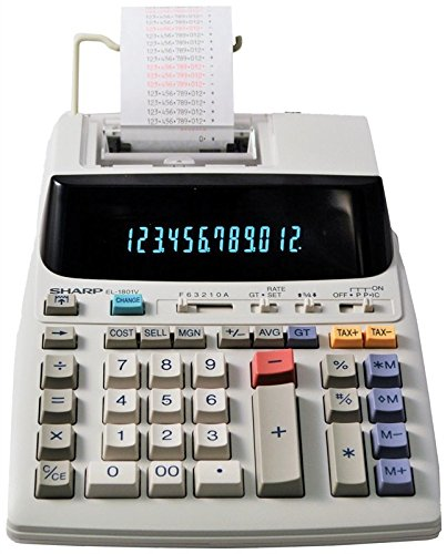 Sharp EL-1801V Ink Printing Calculator, Fluorescent Display, AC, Off-White by Sharp