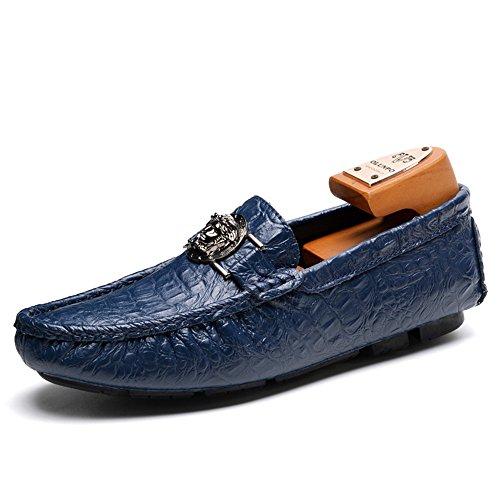 Talón shoes 47 Vamp Mocasines color Para Cocodrilo 2018 Azul Ocio Loafer Hombre Eu Plano Yajie Casuales Imprimir Zapatos Tamaño Azul Hasta Negocios Moda FcUdYqnw