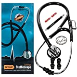 Vorfreude Cardiology Stethoscope Lifetime Replacement Guarantee (27'' Black) Bonus: Name Tag, Classic Pupil Pen Light, Batteries, Spare Diaphragm and 6 Eartips. Total Qty 1