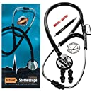 "Vorfreude Cardiology Stethoscope Lifetime Replacement Guarantee (27"" Black) Bonus: Name Tag, Classic Pupil Pen Light, Batteries, Spare Diaphragm and 6 Eartips. Total Qty 1"