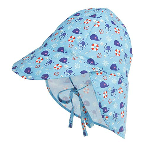 Baby Boys Girls Sun Hat Toddler Adjustable Summer UPF 50+ Sun Protection Beach Flap Hat with Wide Brim Light Blue 9-18 Months