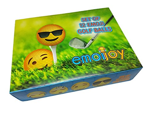 Emoji Golf Balls - Set of 12 Emoji Designs - Two Piece Solid core Construction Ball