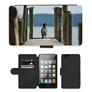 Hot Style Cell Phone Card Slot PU Leather Wallet Case // M00115460 Cormorant Boardwalk Lake Web Nature // Apple iPhone 4 4S 4G