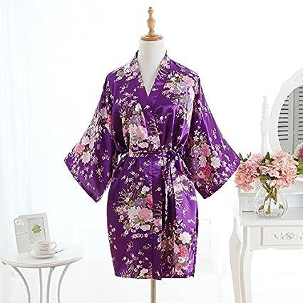 Wanglele Sakura Kimono Camisón De Seda Pijama De Satén De Seda Impresa Flor De Encaje Dama
