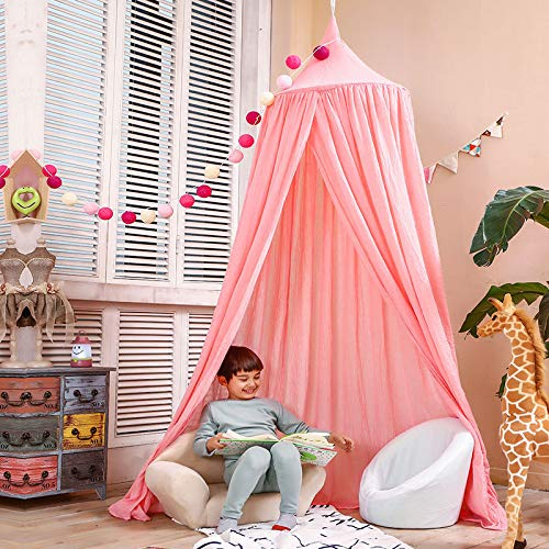 (Dix-Rainbow LEDUNUS Princess Bed Canopy Net for Kids Baby Bed, Round Dome Kids Indoor Outdoor Castle Play Tent Hanging House Decoration Reading Nook Cotton - Extra Large Size Coral Pink)