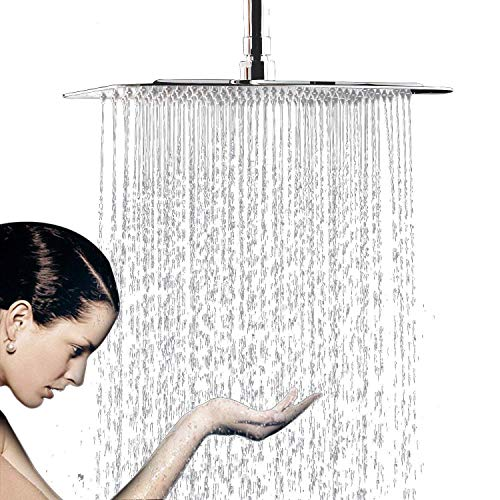 Rain Shower Head, 10 Inch Ultra Thin 304 Stainless Steel Solid Square Showerhead, Rainfall Showerhead With Chrome Finish,Water Saving ()