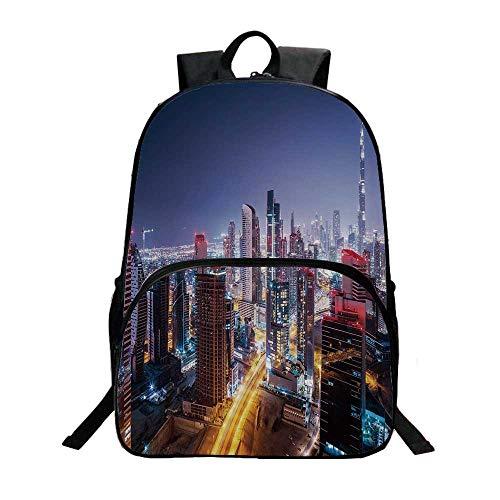 City Fashionable Backpack,Nighttime at Dubai Vivid Display United Arab Emirates Tourist Attraction Travel Theme for Boys,11.8