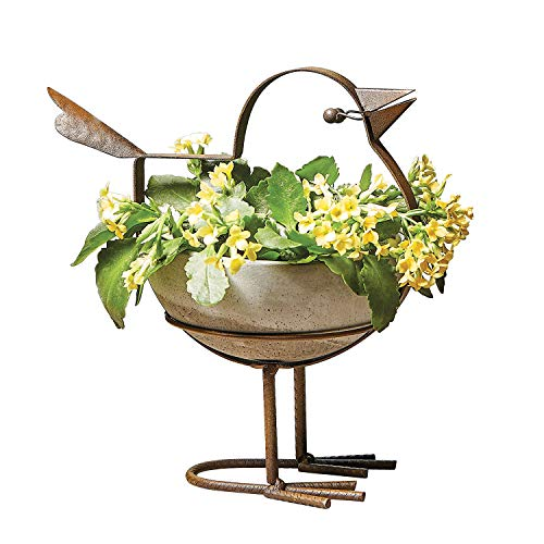 - Art & Artifact Indoor Outdoor Bird Planter - Concrete Bowl, Rusted Iron Frame, 6