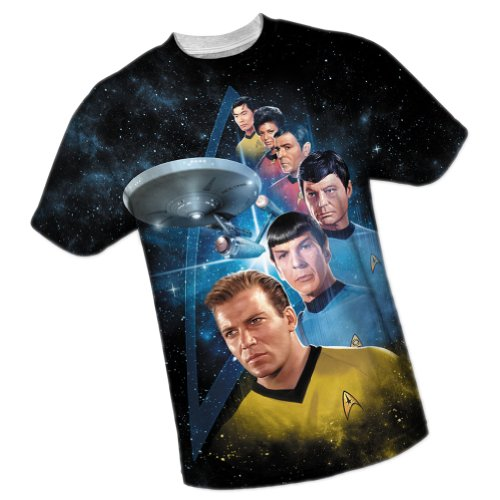 Crew -- Star Trek All-Over Front/Back Print Sports Fabric T-Shirt, Large