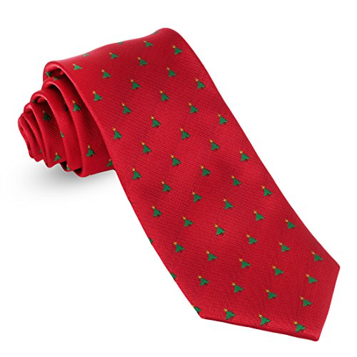 John William Mens Woven Christmas Ties For Men Tree & Star Necktie Red Holiday Twill Tie (Ties Tree Christmas)