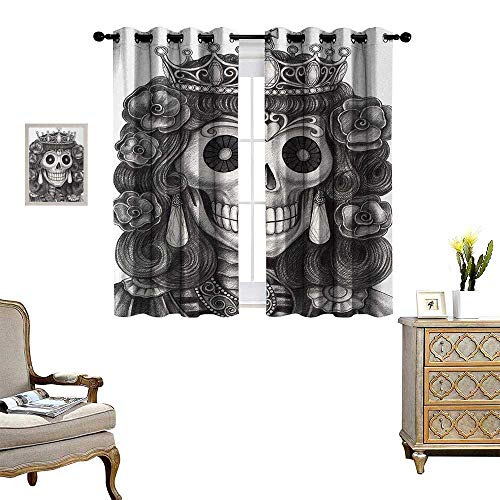 Anyangeight Queen Window Curtain Drape Day of The Dead Artwork Hand Drawing Folk Skull with Flowers Crown Ornaments Decorative Curtains for Living Room W63 x L63 Black and White