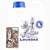 LOURDES HOLY WATER CONTAINER 1L (0,264 GAL) with GOLDEN PRAYER CARD - Filled with AUTHENTIC LOURDES HOLY WATER