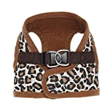Happy Hours - Adjustable Soft Mesh Canvas Non Pulling Tugging or Choking Puppy Harness Vest Leash Set Dog Walking Control Pet Cat Lead Rope D-ring Hasp Buckle, 5 Colors 3 Sizes Available (Leopard, Size M)