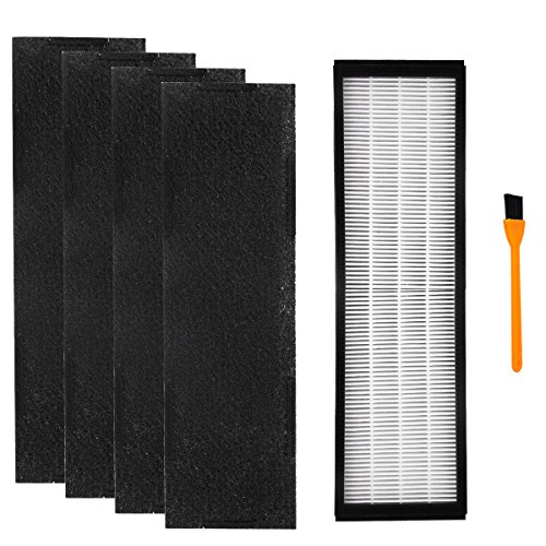 Hongfa Replacement Germguardian AC5000 Filters, Filter C Air Purifier Filter FLT5000 & FLT5250PT HEPA Compatible with AC5000/AC5250PT/AC5350B Series(1pc Filter c+4 Carbon pre Filters+1 Clean Brush)