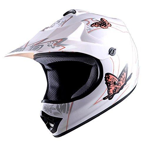 WOW Youth Kids Motocross BMX MX ATV Dirt Bike Helmet Butterfly Pink
