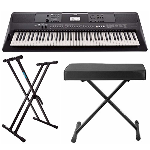 Yamaha PSREW410 76-key Portable Keyboard with Power Adapter, Knox Double X Keyboard Stand & (Best Knox Speaker Stands)