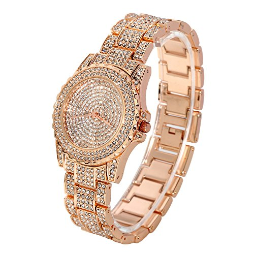 Huntmic Quartz Watch with Gold Plated Stainless Steel Strap, Rose Model: 1) (Rose Gold Plated Watch)