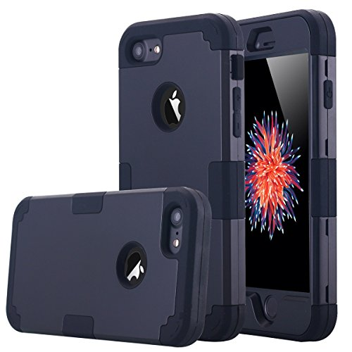 (LONTECT Hybrid Heavy Duty Shockproof Full-Body Protective Case with Dual Layer Hard PC+ Soft Silicone Impact Protection for Apple iPhone 7, Black)
