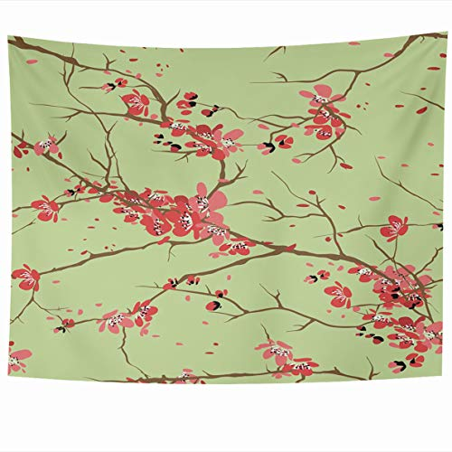 Ahawoso Tapestry 60 x 50 Inches Pink Cherry Sakura Kyoto Geisha Blossom Floral Design Wall Hanging Home Decor Tapestries for Living Room Bedroom Dorm
