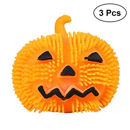 BESTOYARD 3pcs Halloween Pumpkin Decorations Angry Face Puffer Ball Toy Light Up Pumpkin Balls for Kids Children (Orange)