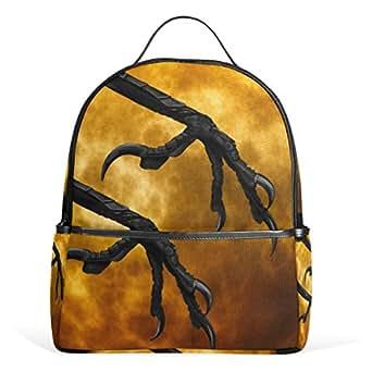 WIHVE Halloween Moon Crow Claws Kids Lightweight School Backpack Bookbag 1th to 4th Grade for Teen Girls & Boys